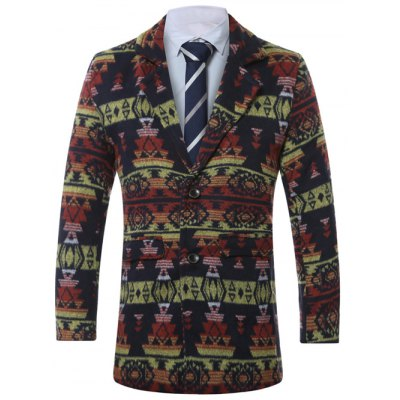 Lapel Single-Breasted Vintage Geometric Print Wool Coat