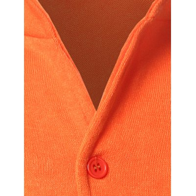 Stand Collar Pocket Front Button Up Plain Cardigan