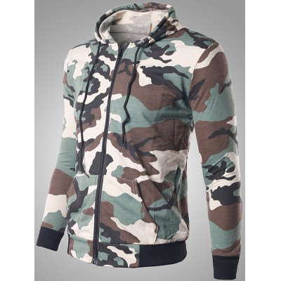 Zip Up Pocket Design Camouflage Hoodie
