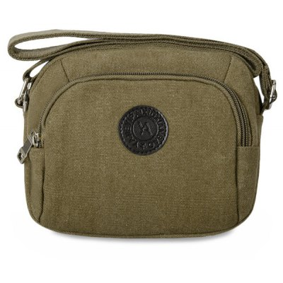 Dark Colour Canvas Zipper Crossbody  Bag