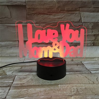 3D Colorful Visual LED Touching Letter Shape Night Light