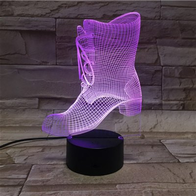 3D Illusion Lady Shoes Color Gradient Touching Night Light