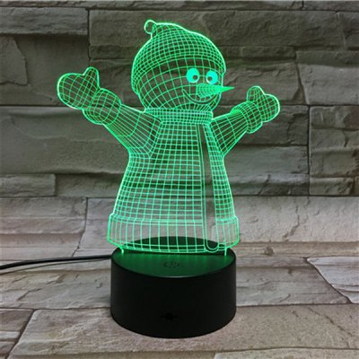 3D Visual Color Changing LED Snowmen Touching Night Light