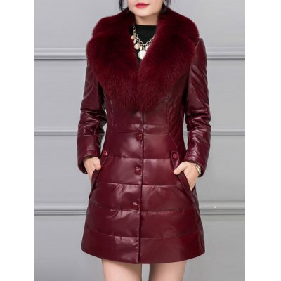 Buttoned Leather Faux Fur Padded Coat