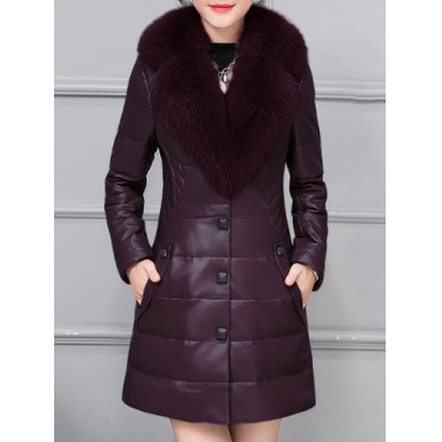 Fur Collar Fake Leather Padded Coat