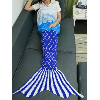 Ombre Color Knitting Fish Scales Design Mermaid Tail Style Blanket