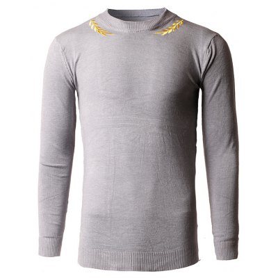 Slim-Fit Crew Neck Embroidery Sweater