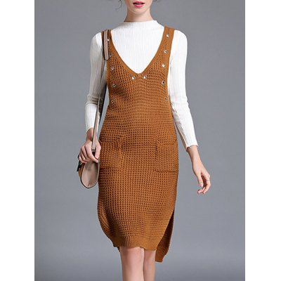 Pocket Slit Sweater Dress and Fitting Knitwear