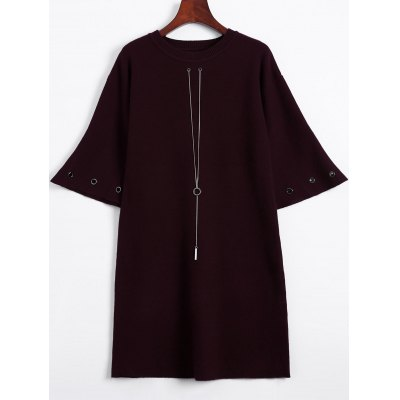 Bell Sleeve Loose and Fitting Knitted Dress