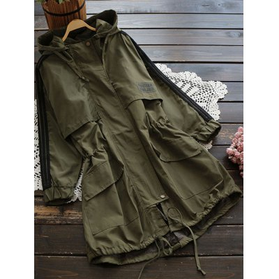 Hooded Drawstring Field Trench Coat