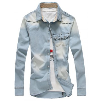 Breast Pocket Button Up Denim Shirt