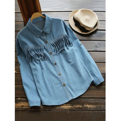 Shirt Neck Fringes Denim Shirt