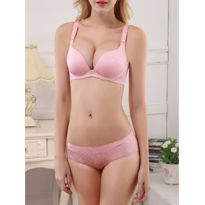 Seamless Embroidered Push Up Bra and Panty Set
