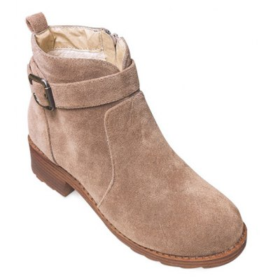 Buckle Flock Ankle Boots