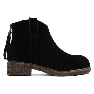 Suede Zipper Dark Colour Ankle Boots