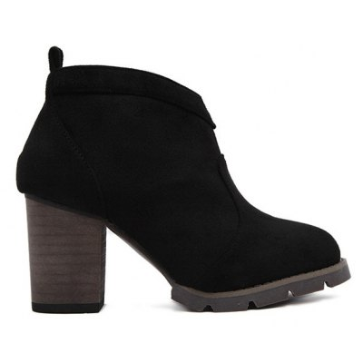 Chunky Heel Suede Dark Colour Ankle Boots