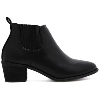 Stitching Chunky Heel Ankle Boots
