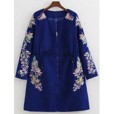 Floral Embroidery Drawstring Coat