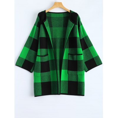 Checkered Pattern Pocket Open Front Coat
