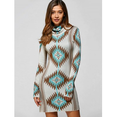 Long Sleeve Turtle Neck Geometric Mini Sweater Dress
