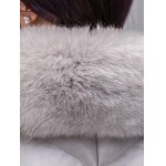Fur Collar PU Leather Quilted Coat for sale
