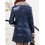 Fur Trim PU Leather Padded Coat for sale