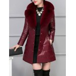 cheap Leather Faux Fur Buttoned Padded Coat