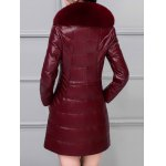 Leather Faux Fur Buttoned Padded Coat photo