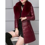 Leather Faux Fur Buttoned Padded Coat deal