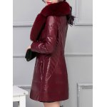 best Leather Faux Fur Buttoned Padded Coat