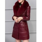 Leather Faux Fur Buttoned Padded Coat for sale