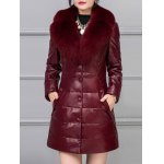 Leather Faux Fur Buttoned Padded Coat