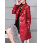 cheap PU Leather Detached Fur Quilted Coat