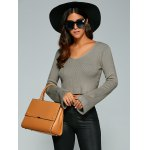 cheap Long Sleeve V Neck Knitted Crop Top