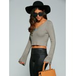 Long Sleeve V Neck Knitted Crop Top deal