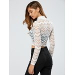 See-Through Zig Zag Lace Crop Top for sale