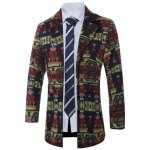 cheap Lapel Single-Breasted Vintage Geometric Print Wool Coat