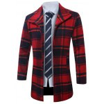 cheap Lapel Single-Breasted Vintage Tartan Wool Coat