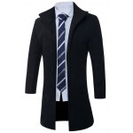 cheap Stand Collar Single Breasted Longline Wool Coat