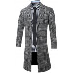 cheap Lapel Single-Breasted Houndstooth Splicing Wool Coat