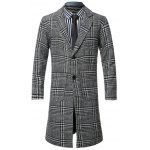 Lapel Single-Breasted Houndstooth Splicing Wool Coat