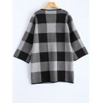 cheap Open Front Checkered Pattern Pocket Coat