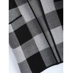 best Open Front Checkered Pattern Pocket Coat