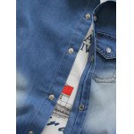 cheap Breast Pocket Snap Button Up Denim Shirt