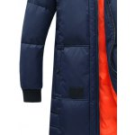 cheap Rib Splicing Stand Collar Lengthen Cotton-Padded Zip-Up Coat