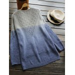 cheap V Neck Ombre High Low Sweater