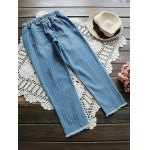 cheap Drawstring Ripped Striped Jeans