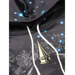 Skull 3D Printed Drawstring Galaxy Hoodie deal