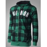 cheap Zip-up Plaid Hoodie with Solo Mon Letter Print