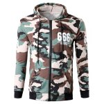 Buy Zip-Up 666 Print Camouflage Hoodie XL